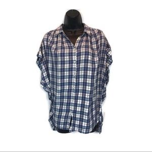 Madewell Blue Purple Plaid Button Down Shirt